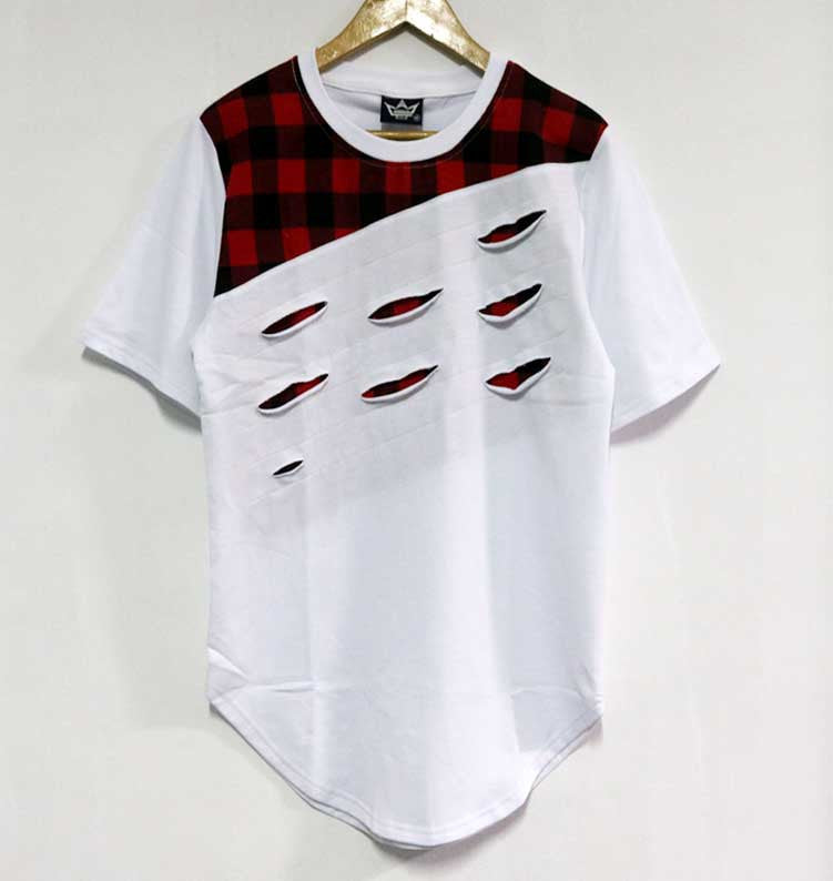 Ripped T-Shirts with Plaid Patchwork Distressed