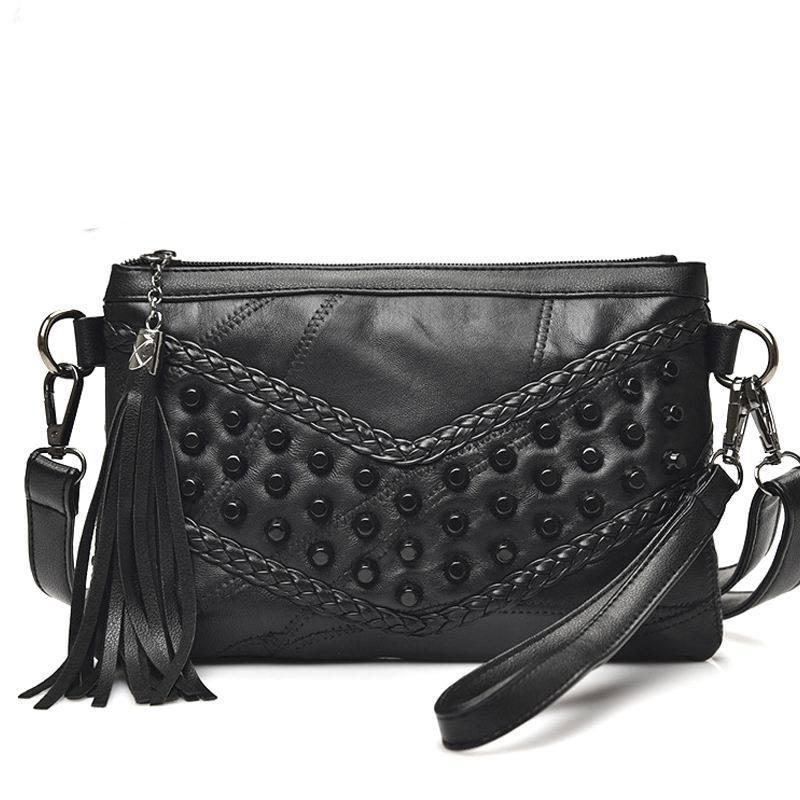 Luxury Fringed Handbags Genuine Leather