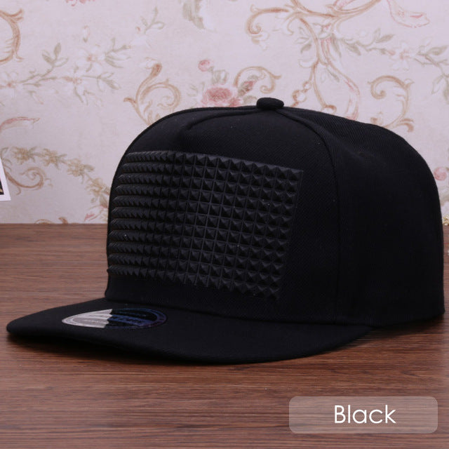 Snapback cap with 3D raised square pyramid soft silicon