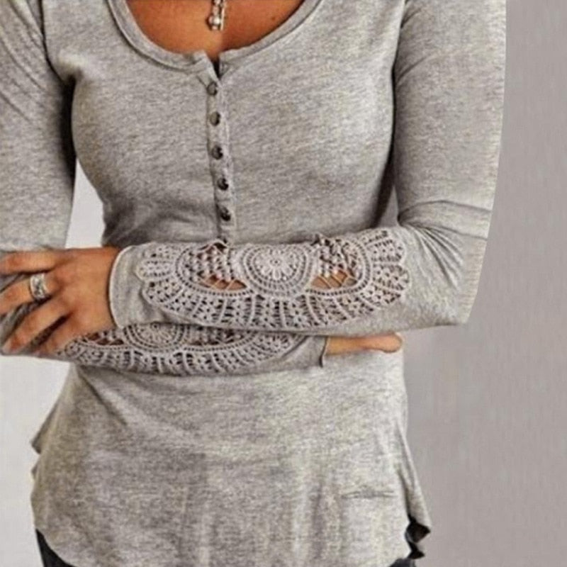 Fashion Lace Crochet Embroidery long sleeve shirts