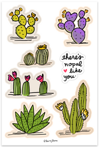 Line and Dot by Laura Jones Martinez super cute cactus illustrations, prickley pear cactus, purple cactus, blooming cactus, Arizona cactus sticker sheets, illustrated cactus sticker sheet