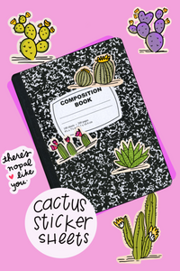 Line and Dot by Laura Jones Martinez super cute cactus illustrations, prickley pear cactus, purple cactus, blooming cactus, Arizona cactus sticker sheets, illustrated cactus sticker sheet laura jones martinez