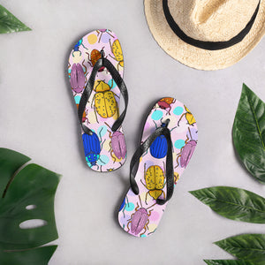 Summer Bug Flip Flops  Line & Dot by Laura Jones Martinez  Bug gifts, botanical insect, insect art, Beetle Print, cute flip flops, summer sandals, Flip Flops, Bug Flip Flops, bug print, insect print, bug sandals, Bug gifts, botanical insect, insect art, Beetle Print, Bug Art, Insect taxidermy, Whether they are amazed by bugs or creeped out by them, earth wouldn't be the same without insects. Unique bug gift idea, insect gift idea