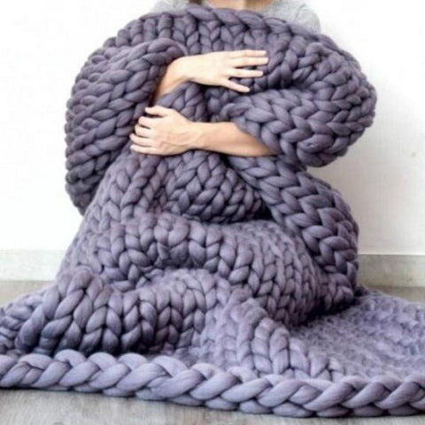 Chunky Merino Wool Knit Blanket - 4 Sizes, 6 Colors! Maletropolis