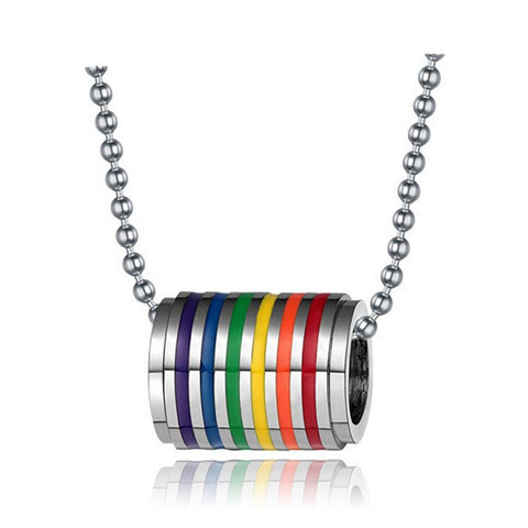 Maletropolis Men - Jewelry Stainless Steel Rainbow Loop Pendant Necklace