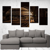 Printy6 Wall art Framed(ready to hang) / Medium 5 Panel Canvas Print Wall Art - Berlin Train Station