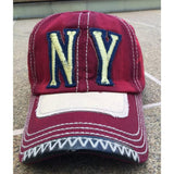 Sun Ben Inc. Men - Accessories - Hats Red NY Distressed Baseball Cap