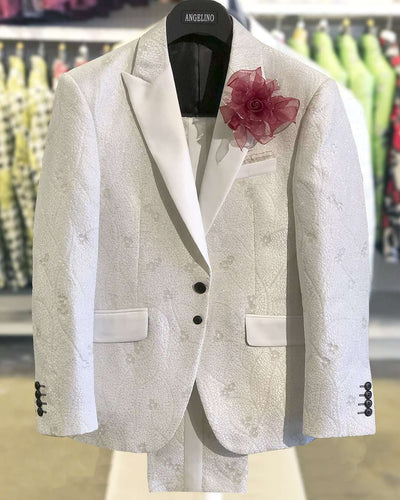 prom suits white woven fabric with white satin lapel