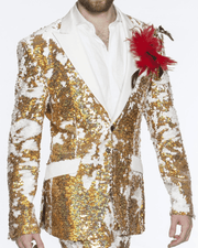 Sequin Jacket, Gold and white with white solid lapel. - ANGELINO