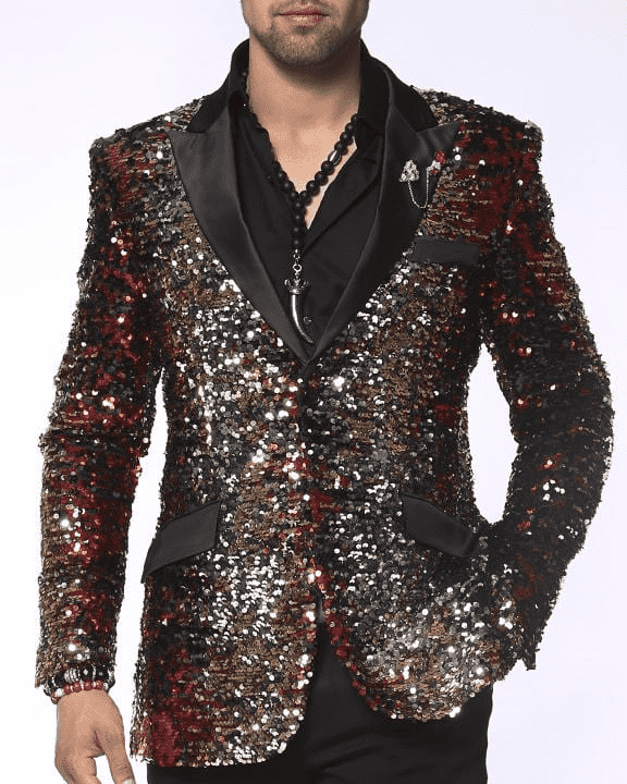 Sequin Blazer for men with red, gold ,silver sequin color and black lapel.