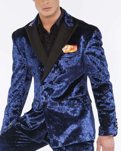 Velvet Suits, Crushed Velvet Blue | ANGELINO