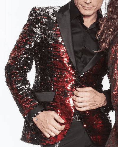 Sequin Blazer Red with black satin lapel - ANGELINO