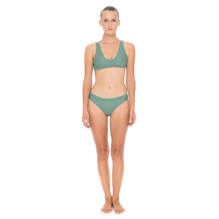 front view army green sustainable surf bikini bottom