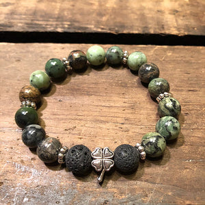 Four Leaf Clover Diffuser Bracelet with Jade and Lava Rock
