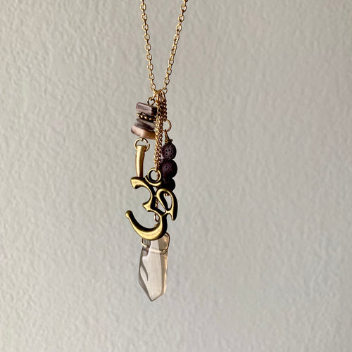 Om and Smoky Quartz Diffuser Necklace with Lava Rock