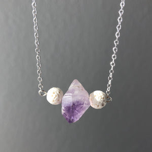Diffuser Pendant with Amethyst and Lava Rock