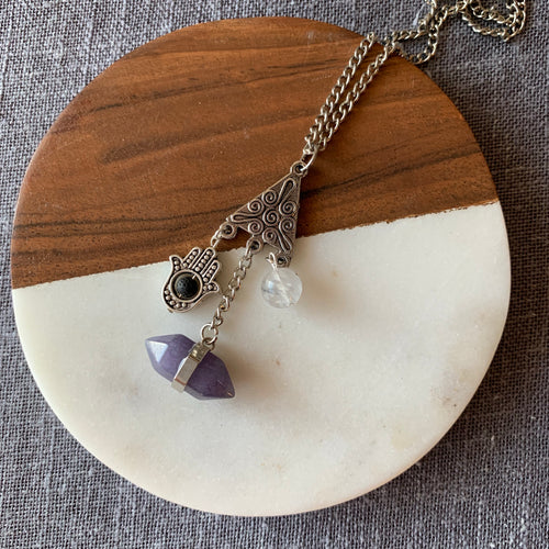 Diffuser Necklace with Quartz, Hamsa, Lava Rock and
