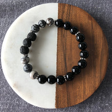 Diffuser Bracelet with Black Water Jasper and Lava Rock