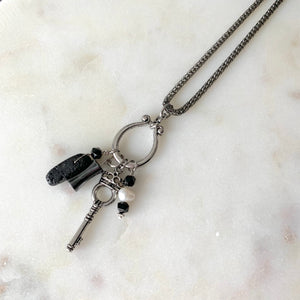 Charmed Life Diffuser Necklace with Hematite, Pearl, Marble, Lava Rock and Key Charm