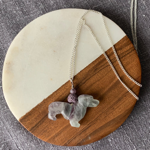 Unique Carved Fluorite Dachshund Diffuser Necklace