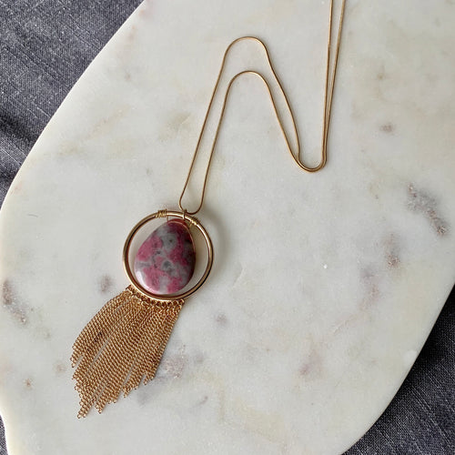 Thulite Pendant Necklace