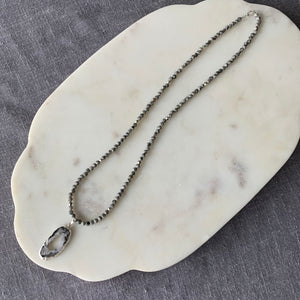 Jasper All Bead Necklace with Stunning Agate Slice Charm