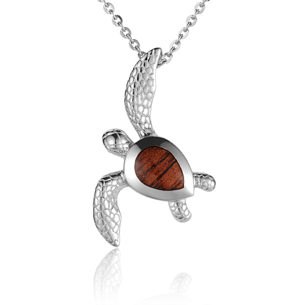 Hawaiian Jewelry Koa Wood Solid Silver Turtle Pendant - Hanalei Jeweler