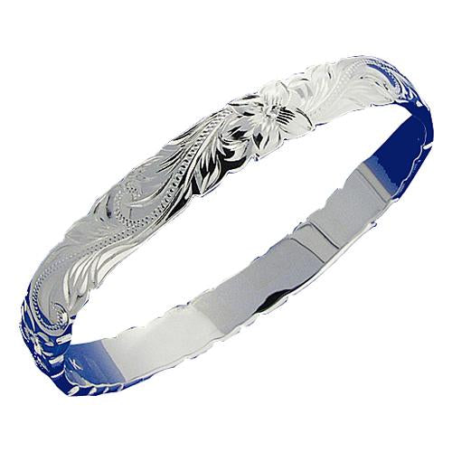 Extra Heavy Weight Sterling Silver Hawaiian Heirloom Bangle Cut Out Edge - Hanalei Jeweler
