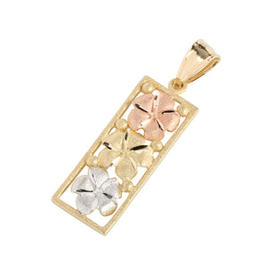 14K Tri-Color Gold Three Plumeria Vertical Pendant - Hanalei Jeweler