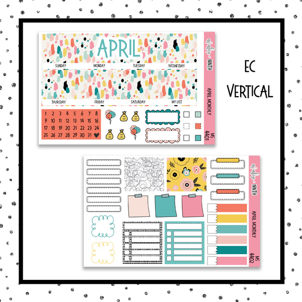 April Monthly Kit // Planner Stickers // MS4401