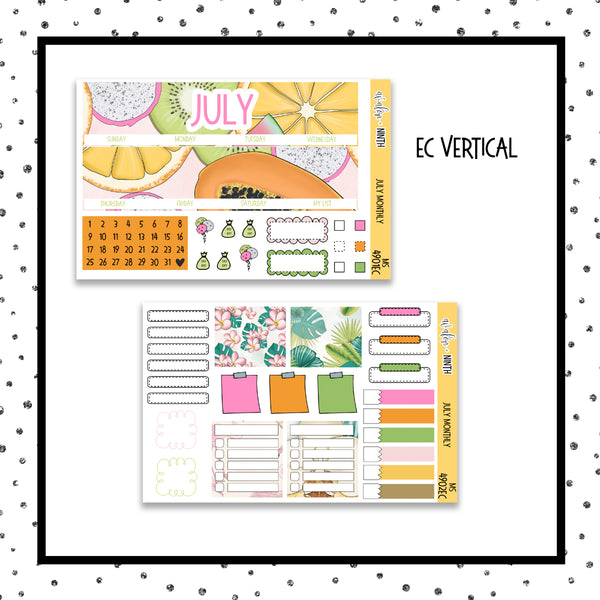 July Monthly Kit // EC Vertical // Planner Stickers // MS4901EC