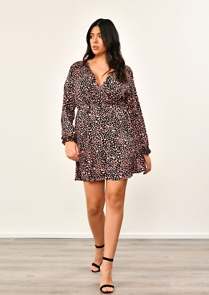 Black Crossover Love Heart Print Dress 2 view 2