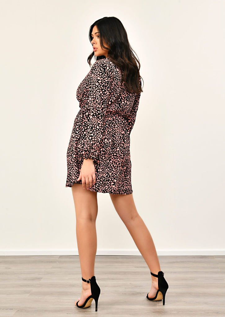 Black Crossover Love Heart Print Dress 4 view 4