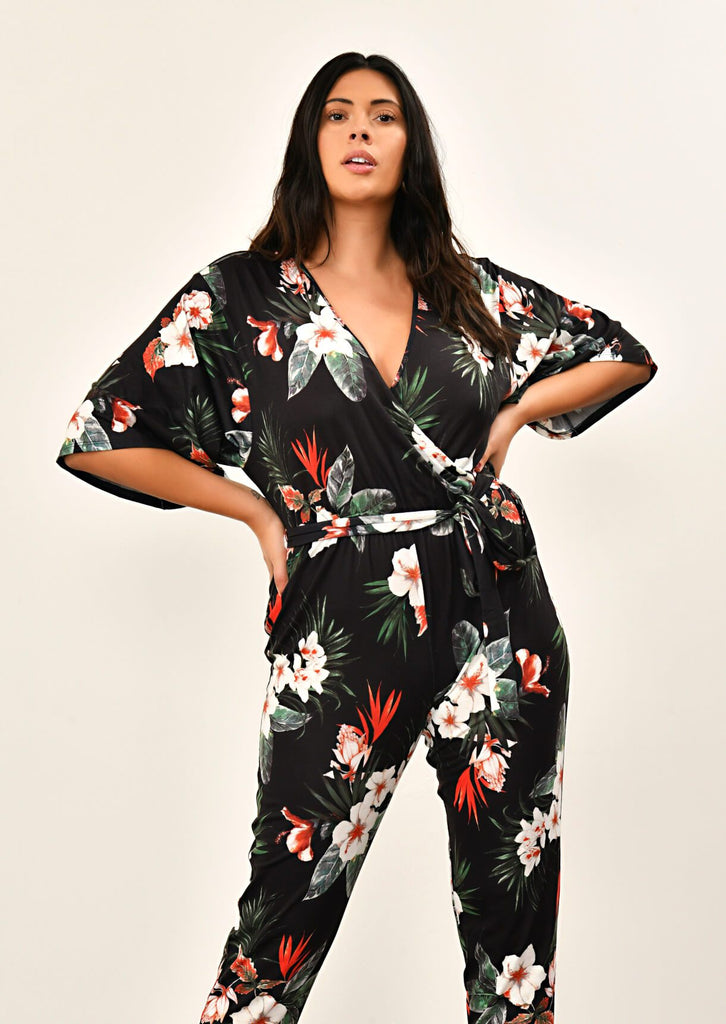 Black Floral Jumpsuit 2 view 2