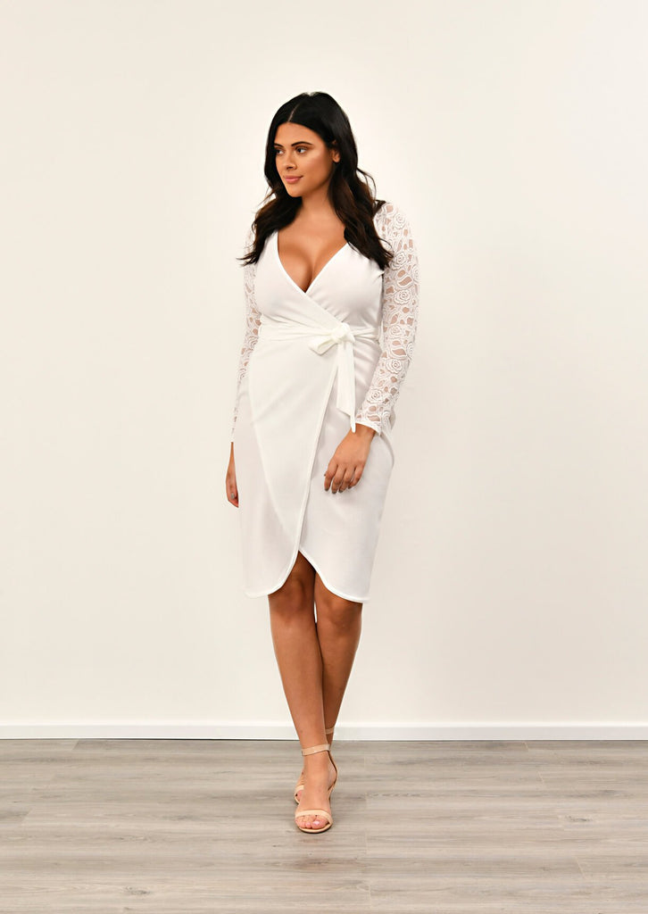 IVORY  Lace Sleeve Wrap Dress 3 view 3