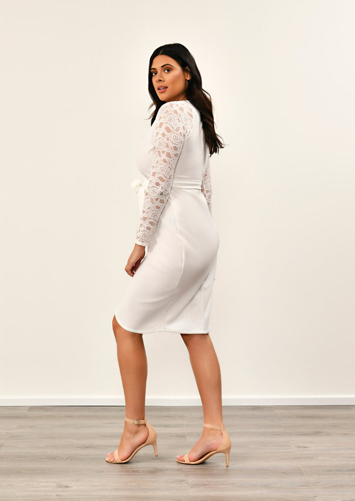 IVORY  Lace Sleeve Wrap Dress 4 view 4
