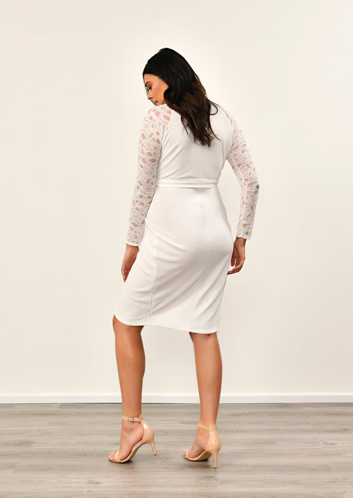 IVORY  Lace Sleeve Wrap Dress 5 view 5