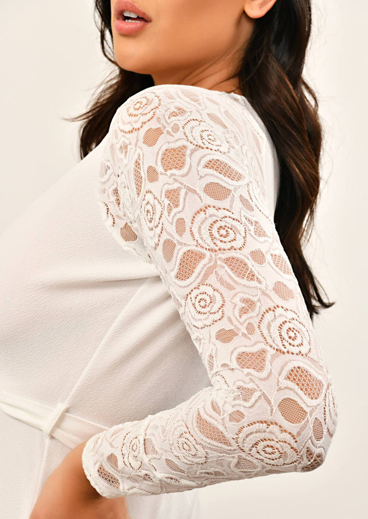 IVORY  Lace Sleeve Wrap Dress 2 view 2