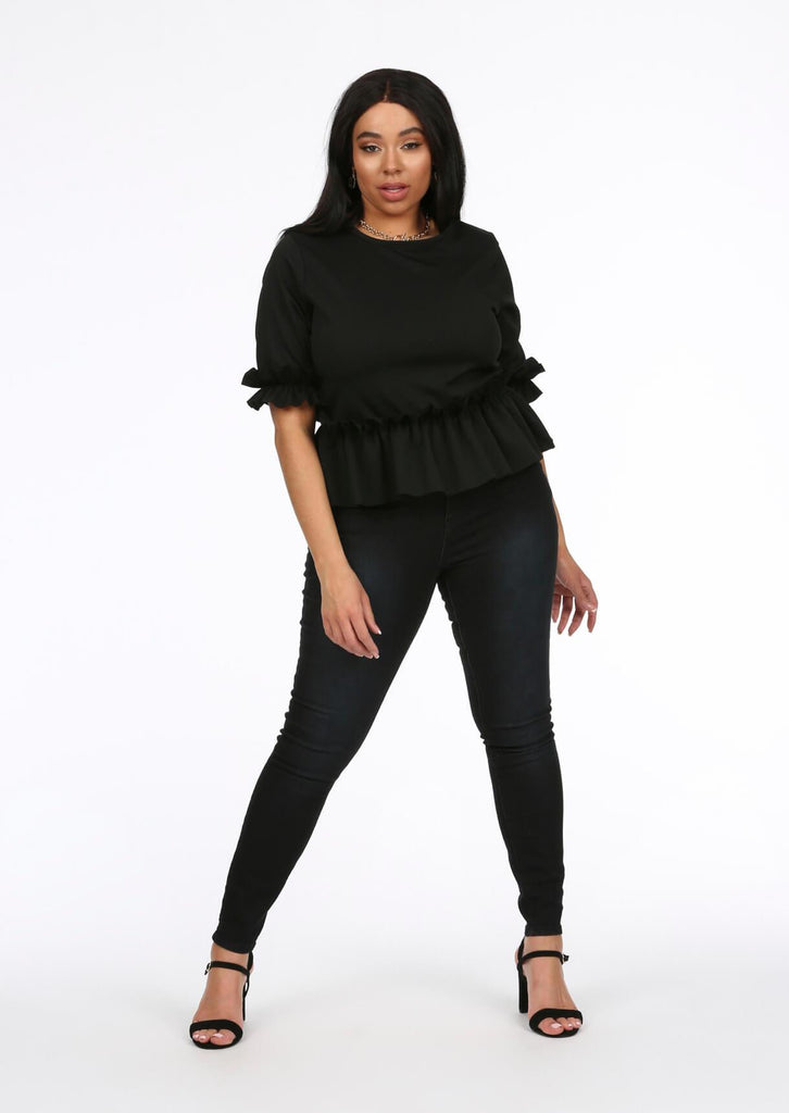 Black Ruffle Sleeve Peplum Top 1