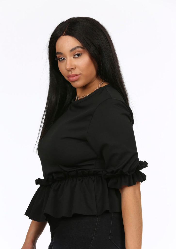 Black Ruffle Sleeve Peplum Top 4 view 4