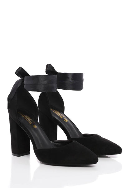 Wide Fit Block Heel Court Shoe in Black Suede Truffle Collection