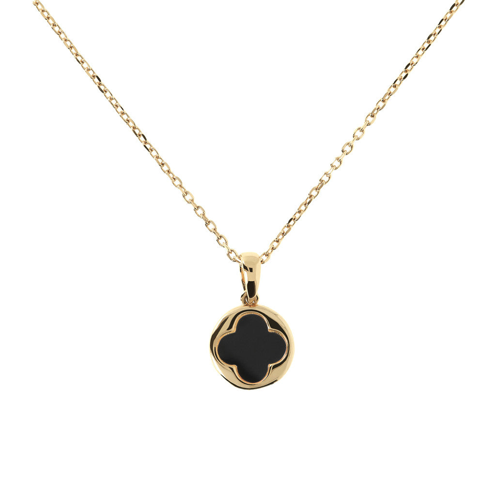 Four Leaf Clover Necklace Natural Stone Yellow Gold