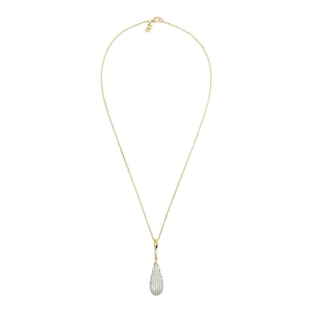 ALTISSIMA BRONZALLURE GOLDEN  FORZATINA NECKLACE WITH DROP PENDANT WITH  CZ GEMSTONE - WSBZ01235Y from above