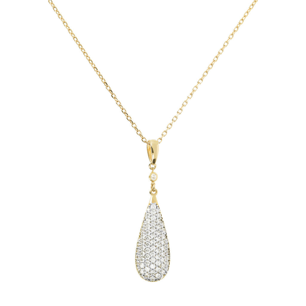 ALTISSIMA BRONZALLURE GOLDEN  FORZATINA NECKLACE WITH DROP PENDANT WITH  CZ GEMSTONE - WSBZ01235Y