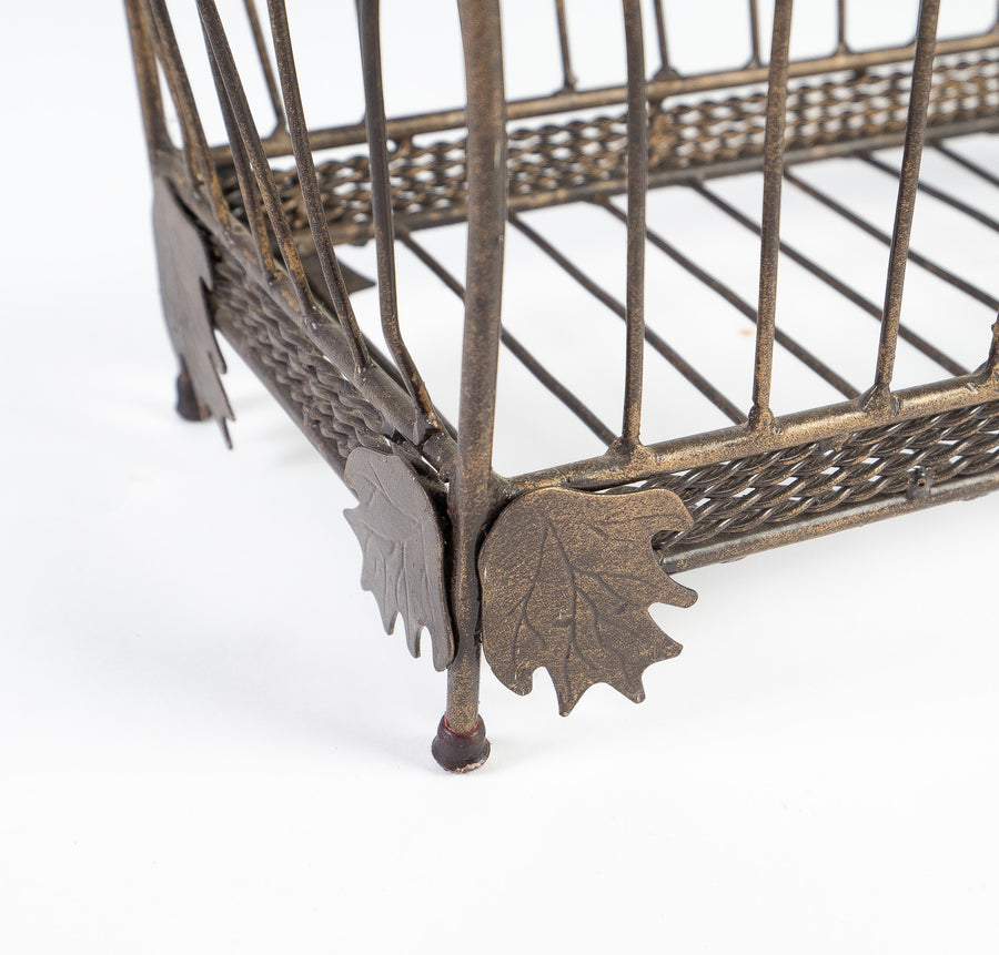 detail shot of the victorian magazine holder - decorative - metal - vintage product