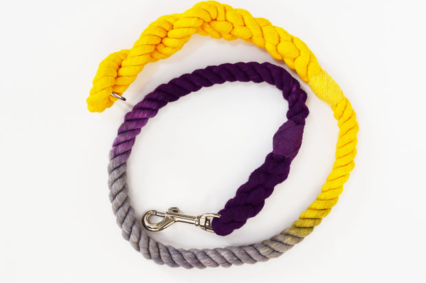 12mm Rope Leash in Yellow, Grey & Deep Purple, Leashes, Jolly Hound, - Winnie Lou - The Canine Company