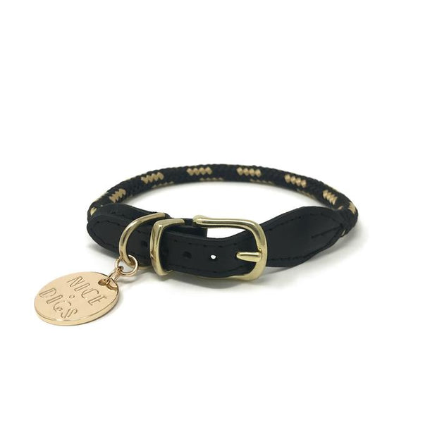 Leather & Rope Collar in Gold Noir, Collars, Nice Digs, - Winnie Lou - The Canine Company