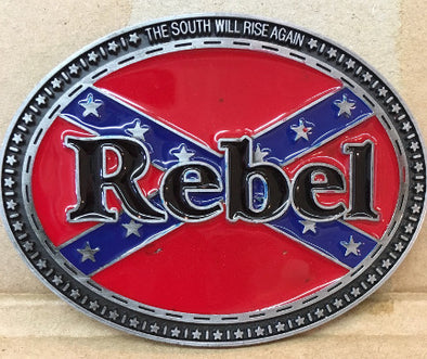 Rebel With States Confederate Belt Buckle