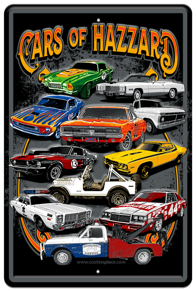 CARS OF HAZZARD METAL SIGN (18 X 24)