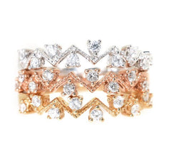 rose gold, white gold, yellow gold diamond stackable rings
